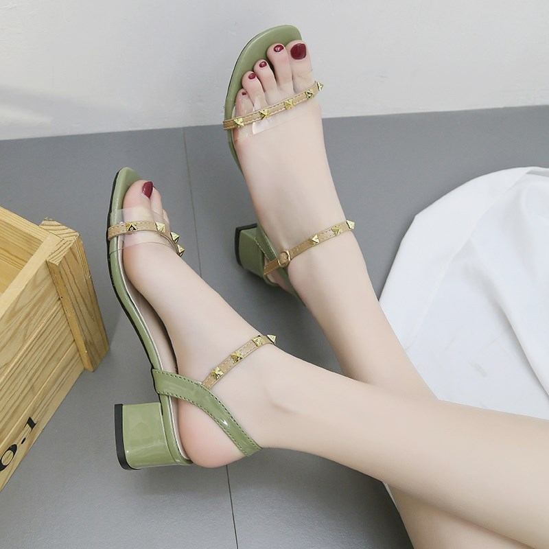 Sandals women 2020 summer new fashion shoes open toe thick heel Liuding womens shoes one line buckle fairy style high heels