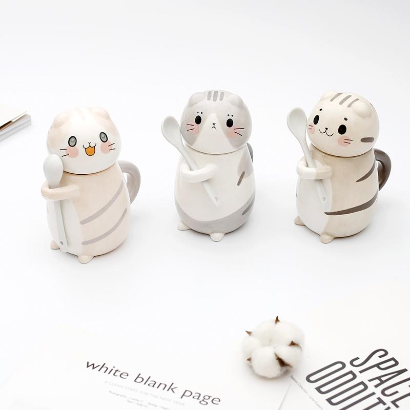 情侣杯子一对韩国创意可爱猫咪陶瓷马克杯生日礼物送男女朋友水杯