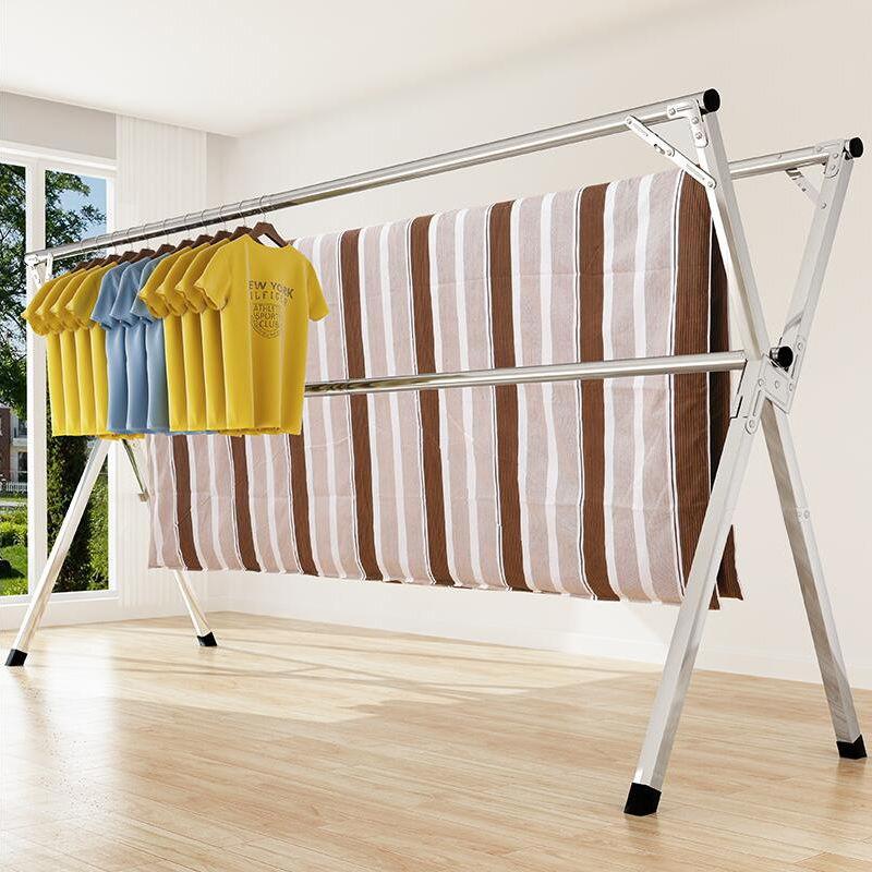 晾衣架落地折叠双杆式室内外阳台挂衣伸缩X型晾衣杆晒被子晒衣物