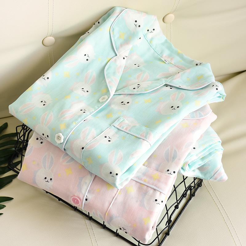 春夏の純綿の二重ガーゼの女性用ホームウェア通気長袖の純綿の女性用パジャマ