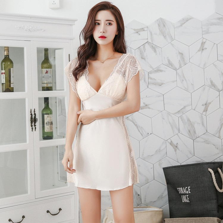 Summer sexy womens pajamas short sleeve lace nightdress with bra, one-piece short skirt with sling, charming home clothes