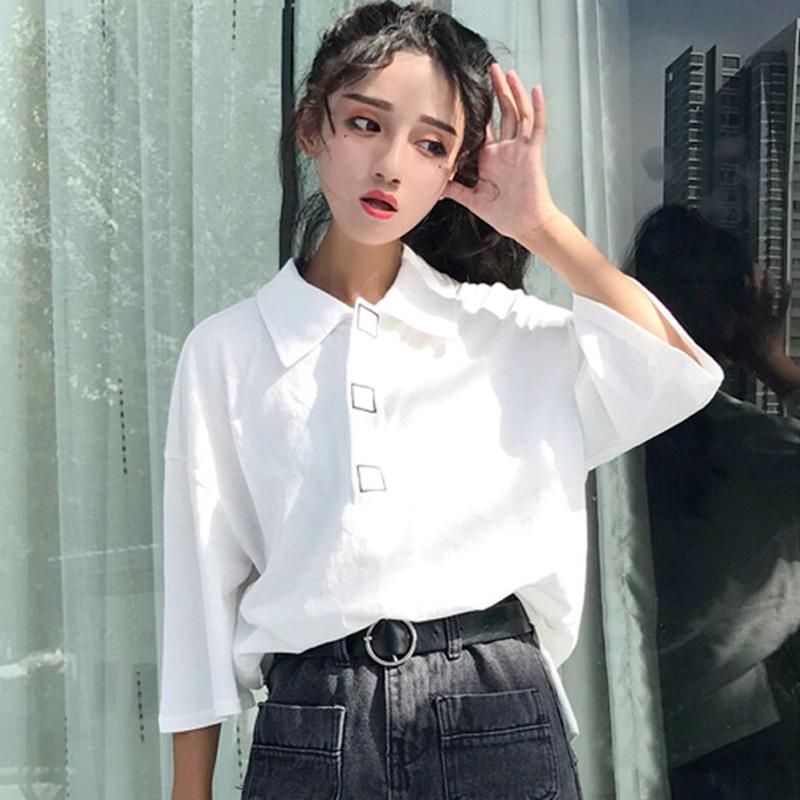 夏裝2018新款韓版白色POLO衫百搭顯瘦寬鬆休閑上衣短袖T恤女學生