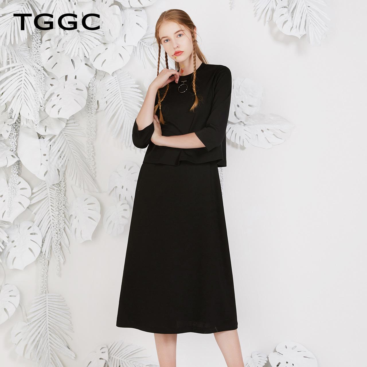 TGGC2018年春夏新款通勤简约两件套七分袖直筒中长款连衣裙F27382