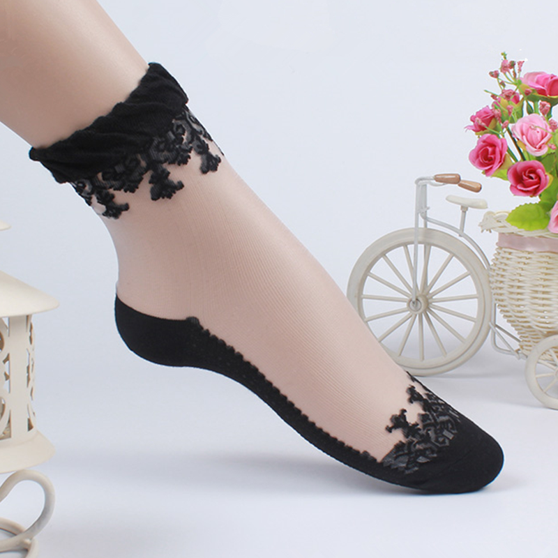 Five pairs of stockings childrens crystal silk cotton bottom womens socks lace glass lace stockings ice silk short socks