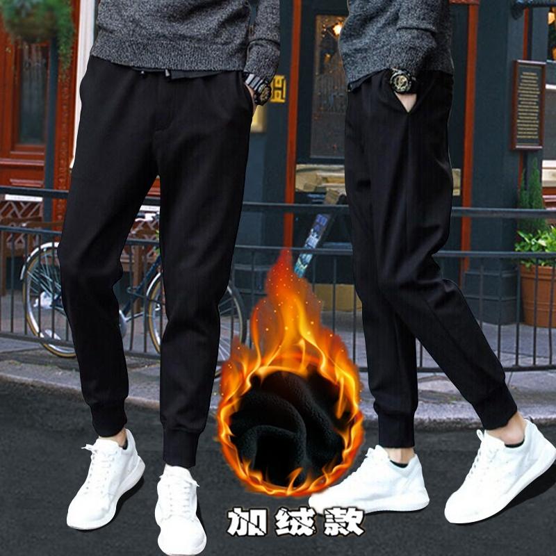 冬季男士速干休闲裤男装便宜9.9包邮修身学生上班土工作加绒加厚