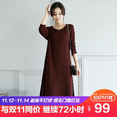 加绒加厚中长款 大码 韩版 2018冬装 女装 新款 针织连衣裙胖mm打底衫