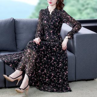 2021年春装新款女装碎花雪纺长袖连衣裙大码胖MM减龄显瘦打底长裙