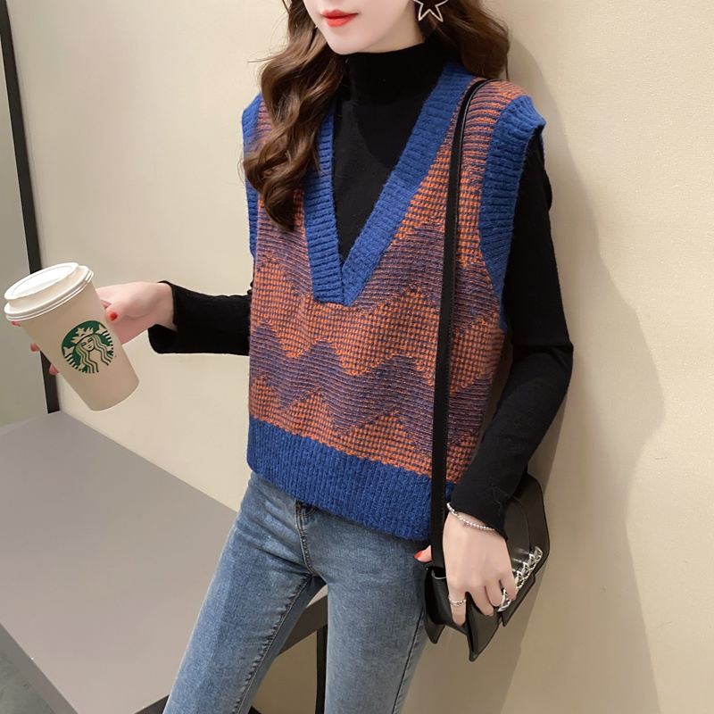 V-neck Pullover womens sleeveless vest Korean loose fashion knitted top spring 2021 new trend