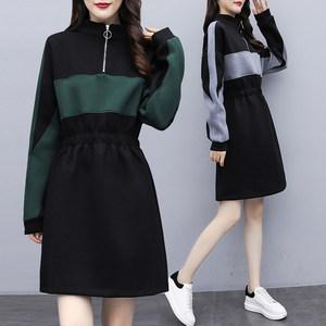 欧洲站2020春季新款大码女装韩版气质卫衣裙中长款收腰显瘦连衣裙