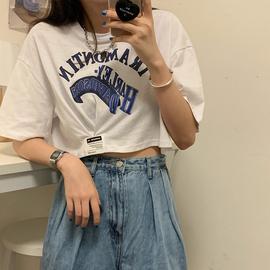高腰纯棉短袖t恤女小众设计感宽松韩版ins潮泫雅风短款露脐装上衣