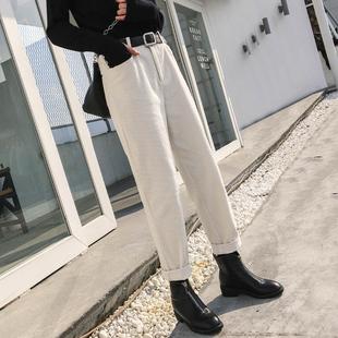 休闲老爹白色条绒裤 工装 韩版 萝卜裤 直筒灯芯绒裤 子女秋冬2019新款