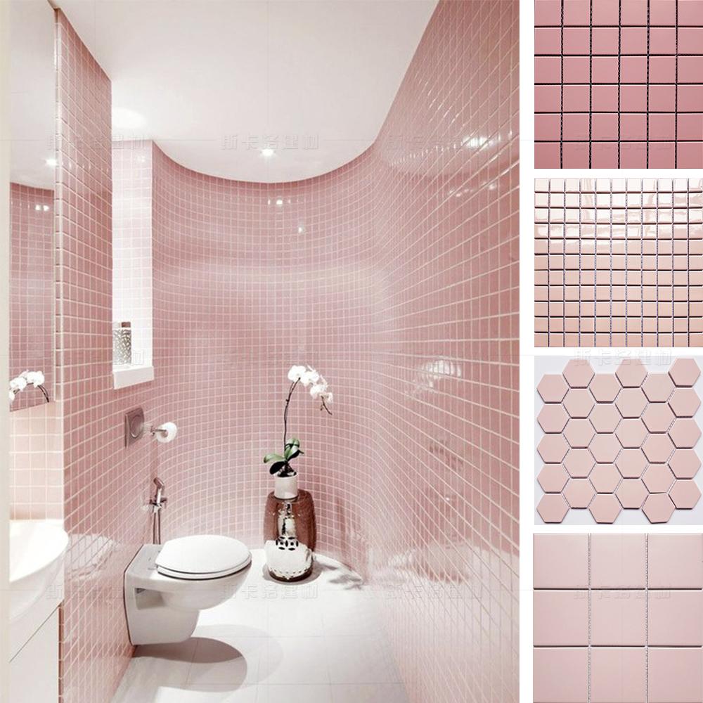 粉红色马赛克瓷砖女孩装饰浴室粉色墙砖防滑地砖吧台背景装修选材