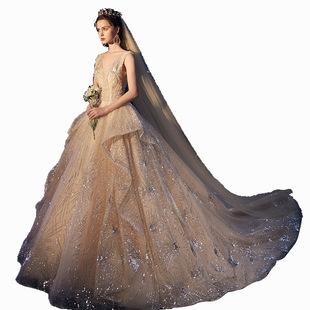 出租租賃星空婚紗禮服2020新款高端奢華赫本新娘復古香檳色大拖尾