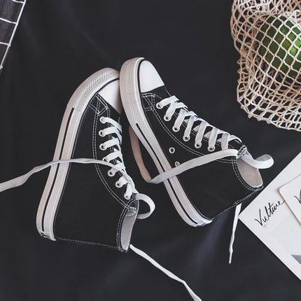 秋冬2020年新款高帮小白帆布鞋女鞋韩版百搭ulzzang加绒布鞋板鞋