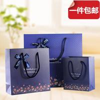 时尚深蓝色底小花蝴蝶结礼品袋 商务送礼袋 礼物包装袋手提纸袋