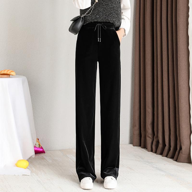 金丝绒阔腿裤女高腰垂感2020新款宽松黑色直筒裤秋冬加绒拖地裤子图片