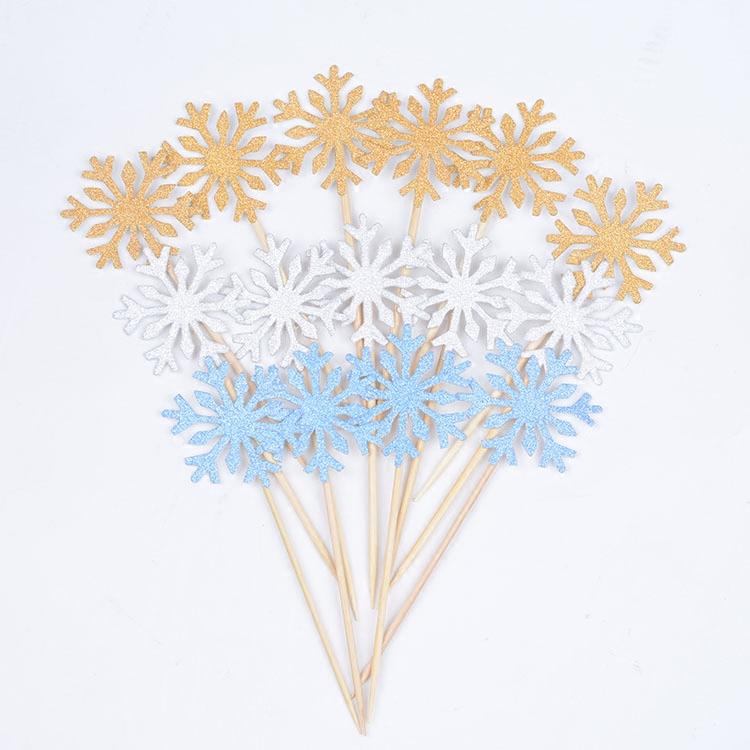 烘焙蛋糕装饰 生日快乐插牌 冰雪奇缘雪花牙签插旗插卡派对装饰