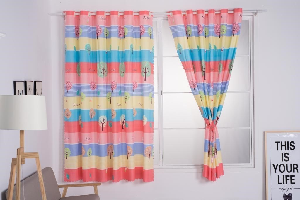 Upper and lower curtain cloth bedroom isolation installation free perforated door / 2 Korean window decoration double dining room outdoor