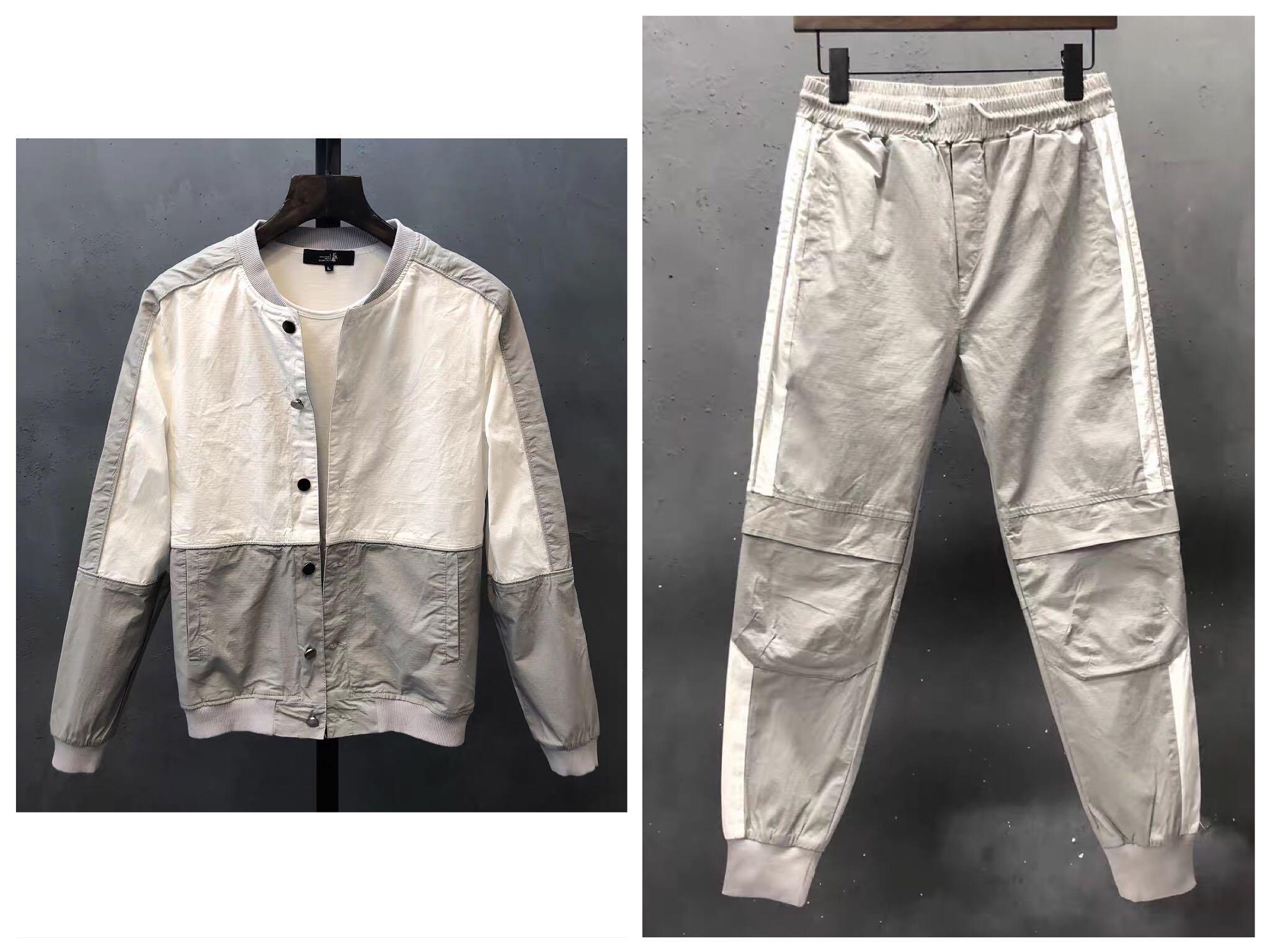 2021春秋新款男士套装韩版运动休闲纯棉两件套潮流修身外套男夹克