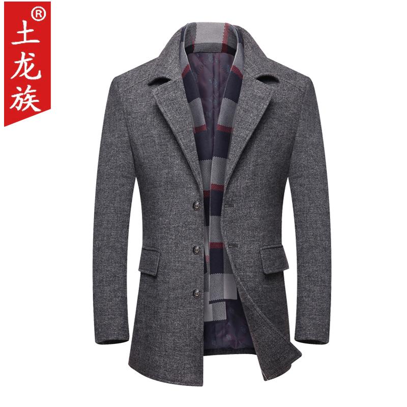 New middle-aged mens woolen coat coat plus cotton thickened leisure woolen coat mens jacket dads coat