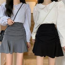 鱼尾裙半身裙女大码秋季设计感小众高腰A字短裙褶皱包臀荷叶边裙