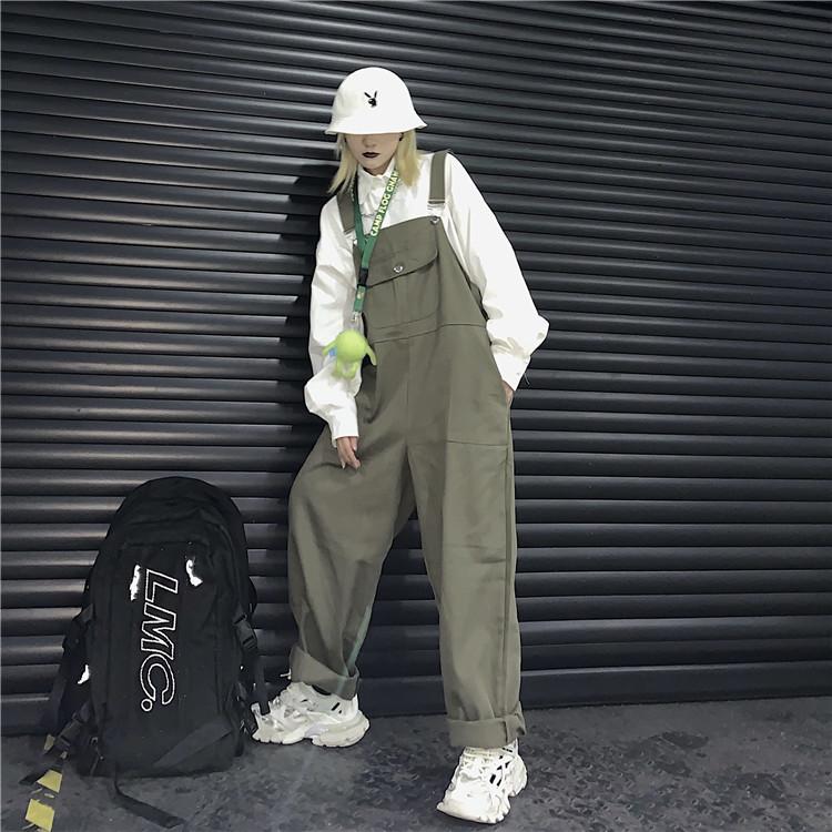 背带裤女韩版ins原宿风阿美咔叽复古宽松连体裤工装裤情侣阔腿裤