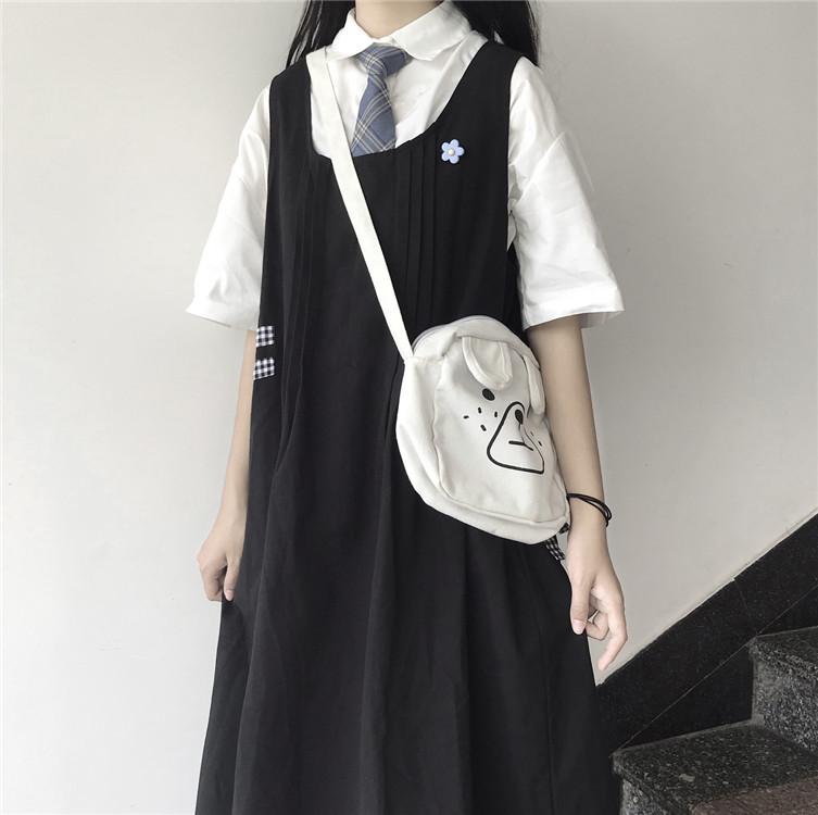 有赠品夏季韩版ins泫雅风复古白色短袖衬衣+宽松休闲黑色背带连衣裙套装