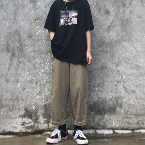 裤子女夏季韩版ins黑色休闲裤宽松直筒阔腿裤工装裤运动裤长裤潮