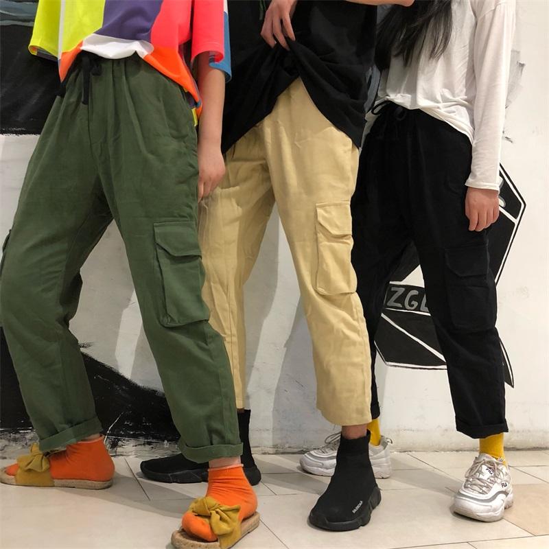 帅气九分工装裤男女日系多口袋宽松直筒大口袋休闲裤ins超火长裤