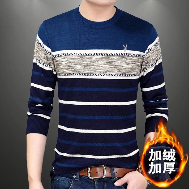 冬季加绒修身保暖男士打底衫毛衣休闲针织