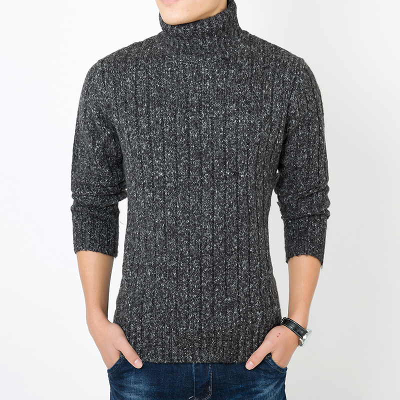 Super thick winter mens high neck thick line sweater, pure color sweater, middle-aged and young peoples knitted sweater, thickened warm base coat