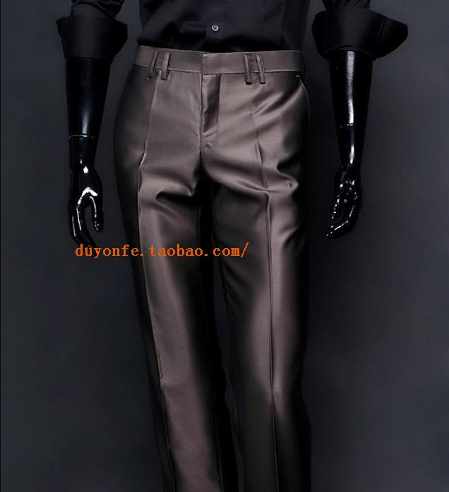 Korean mens medium waist high quality mercerized business casual trousers straight through trousers large pleated slim suit pants