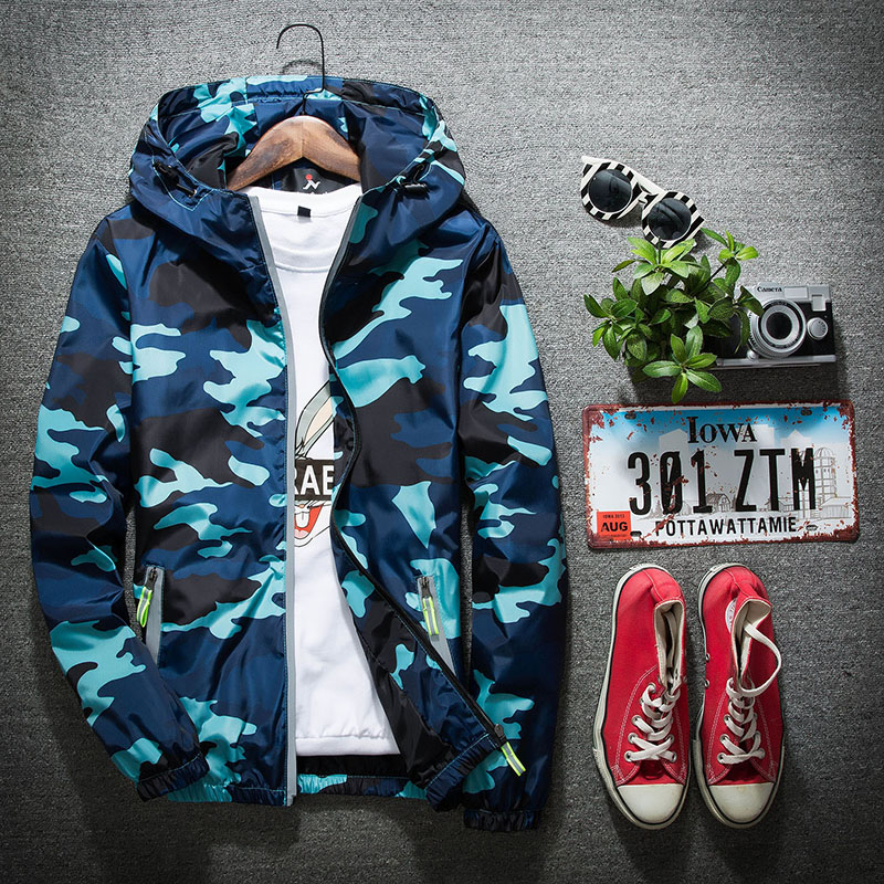 Spring and autumn thin mens jacket junior high school students leisure coat sports jacket girl teenagers lovers camouflage windbreaker