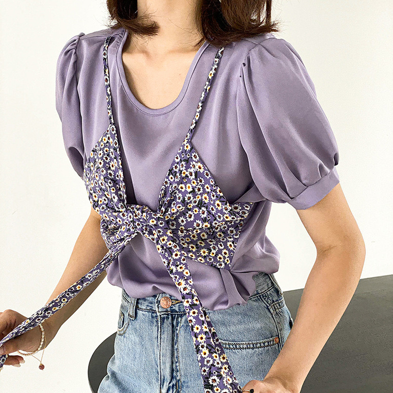 Short sleeve French floral purple chiffon shirt womens 2020 summer temperament bubble sleeve top super fairy taro purple