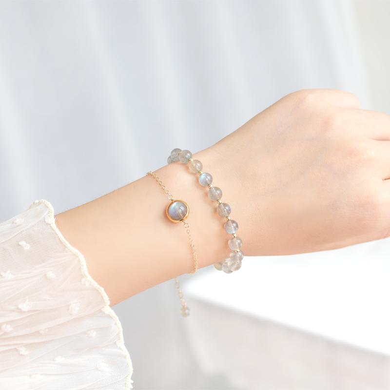 天然冰种灰月光石手链女小众设计ins冷淡风纯银水晶手串生日礼物