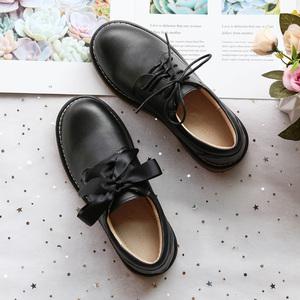 真皮软妹小皮鞋可爱学生女鞋复古马丁靴平底单鞋lolita仙女鞋子秋