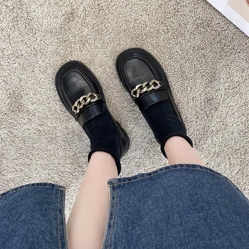 英伦小皮鞋女2021秋冬新款女鞋一脚蹬平底加绒乐福鞋黑色上班单鞋
