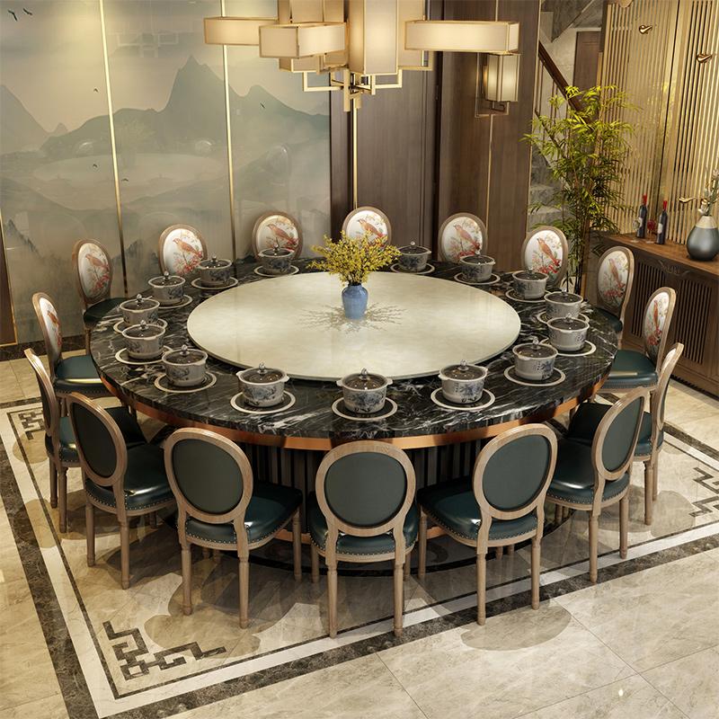 大理石火锅桌 电动圆桌酒店餐桌 桌椅组合电磁炉一体商用火锅桌子