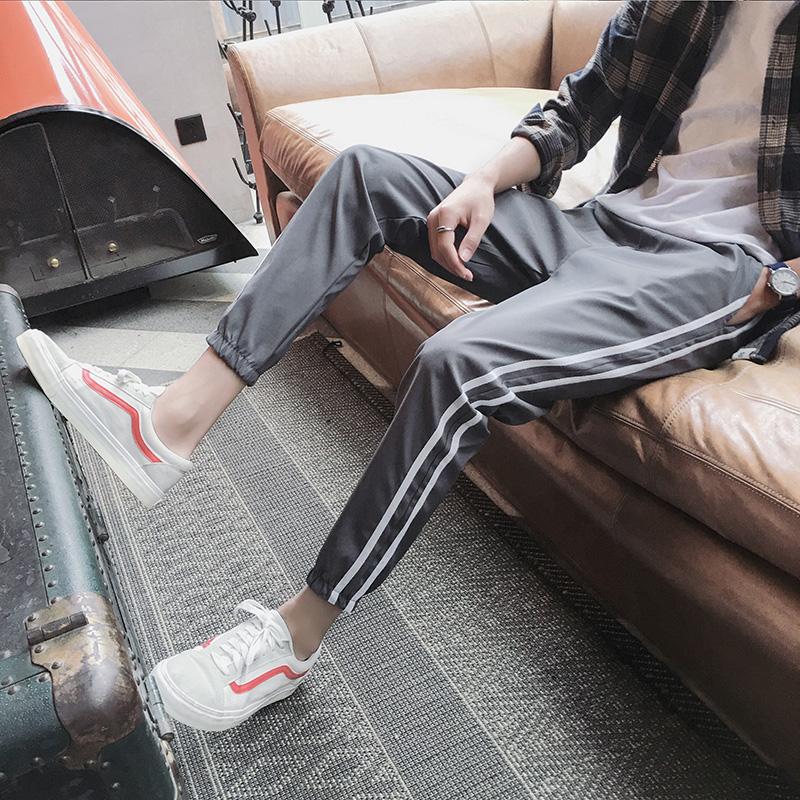 2018夏季新款束脚裤休闲裤条纹运动裤男韩版潮流显瘦哈伦裤九分裤