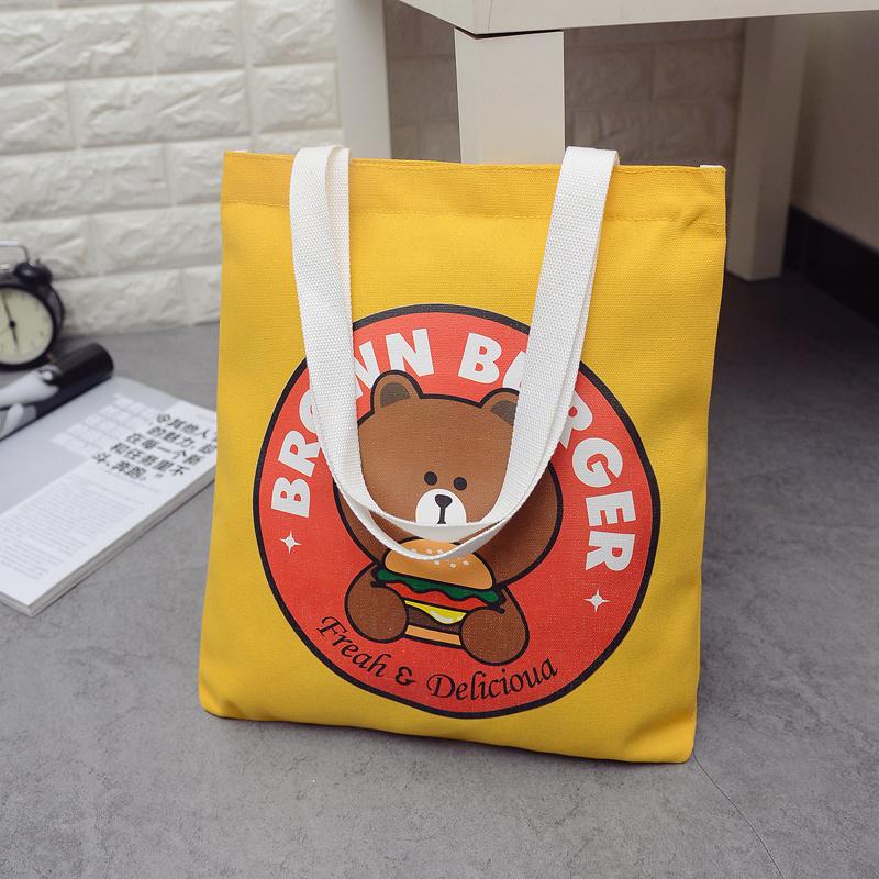 Korean version soft girl cartoon Canvas Shoulder Bag female leisure shopping bag student schoolbag shopping bag