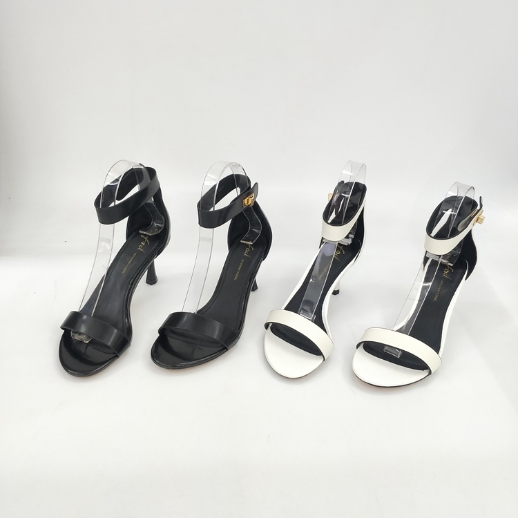 Insect home genuine leather slotted belt ankle swivel buckle high heel thin heel wine glass heel sandals womens shoes