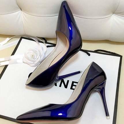 小清新高跟鞋少女抖音同款黑色工作单鞋女红色婚鞋漆皮蓝色高跟鞋