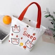 2021新款日系ins小清新购物收纳袋饭盒便当包女生手提包帆布包