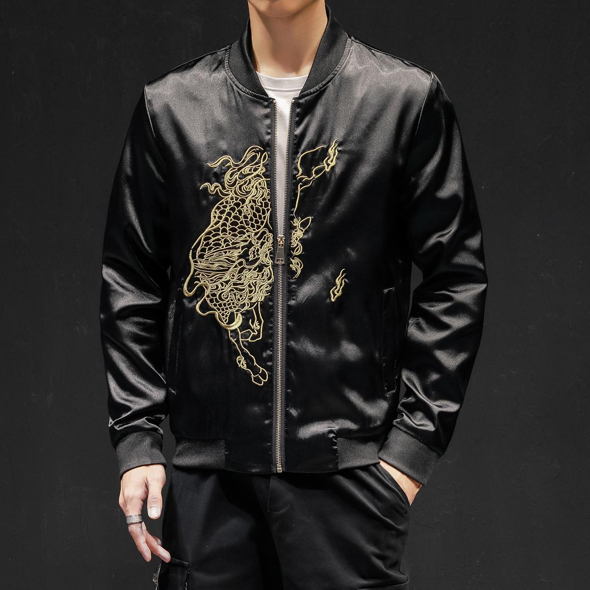 7034-P135秋季中国风复古麒麟刺绣夹克外套男士衣服QT715