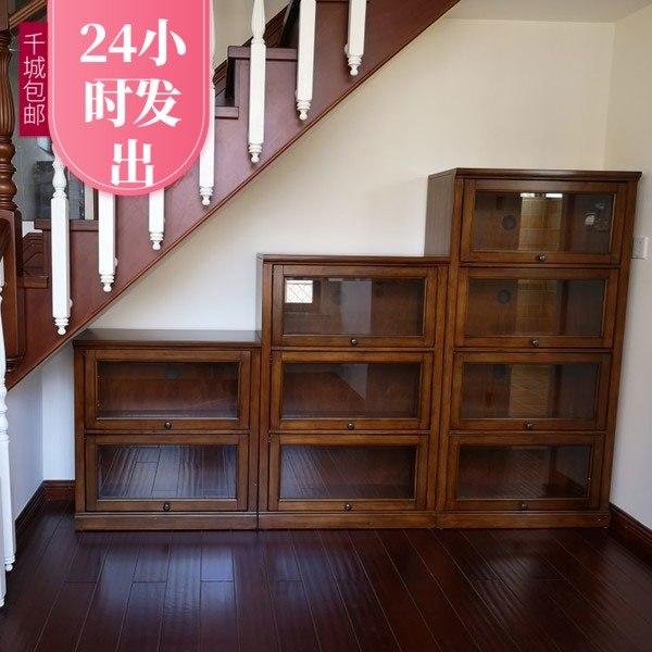 美式实木小书柜带玻璃门组合柜子储物柜书橱落地书架儿童简约书柜999.00元包邮