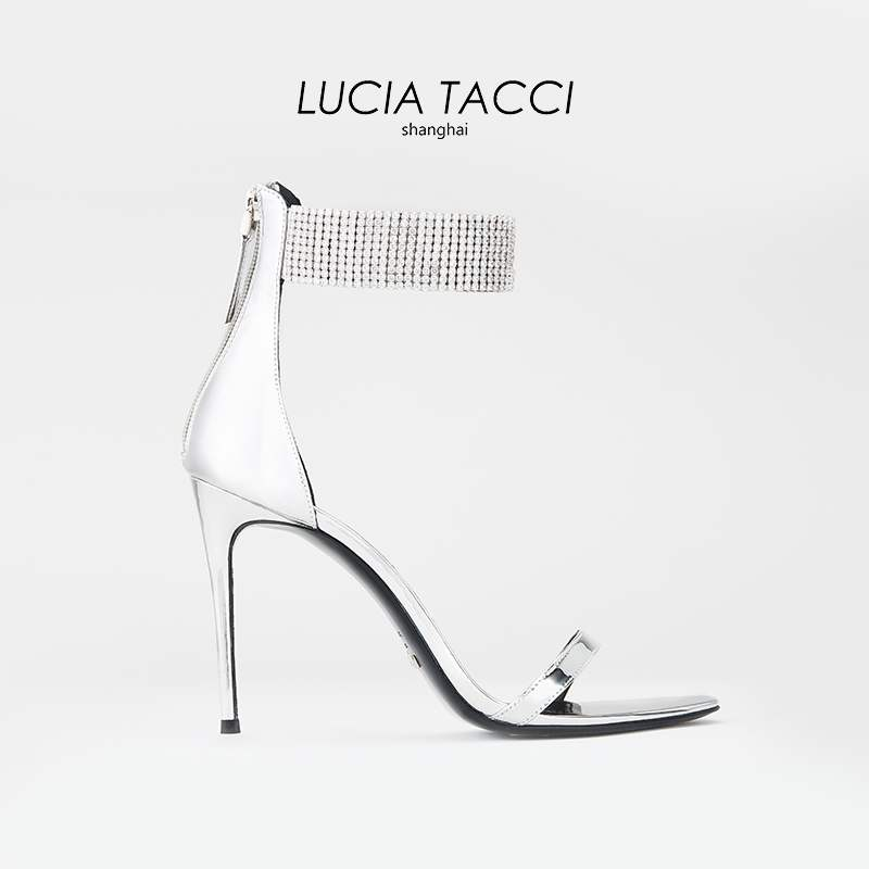 Lucia tacci [red carpet series] 4.3new silver mirror full ankle with thin heel 10.5cm Sandal