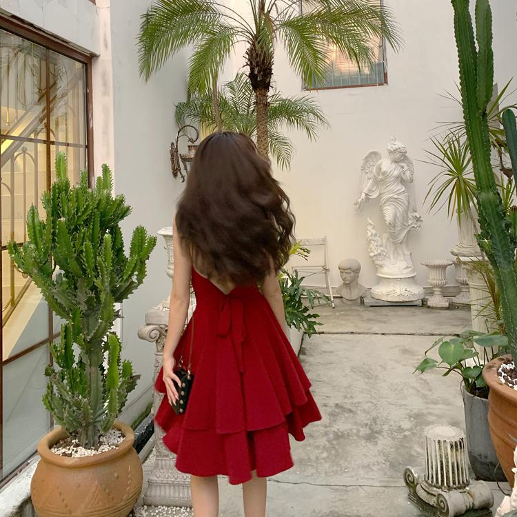 土耳其泰國新款吊帶連衣裙紅色性感露背沙灘裙子雪紡海邊度假長裙