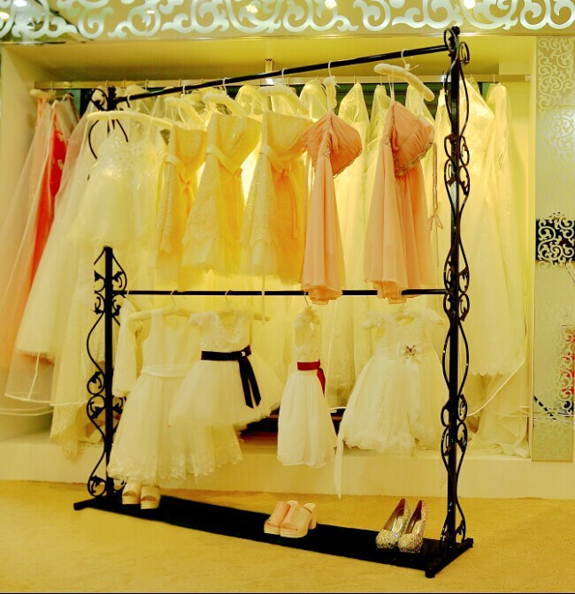 Iron clothes rack double-layer clothes rack display rack mens and womens clothing store shelf hanging suits and trousers floor hanging clothes rack