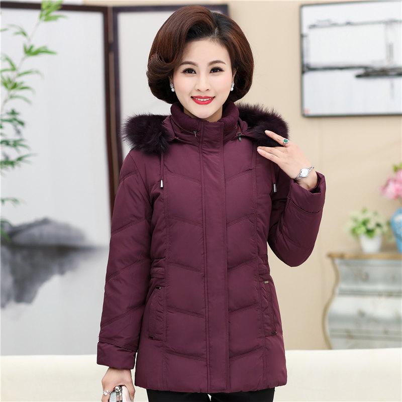 中老年人羽绒服女妈妈冬装棉衣短款中年女装加厚老人衣服奶奶外套