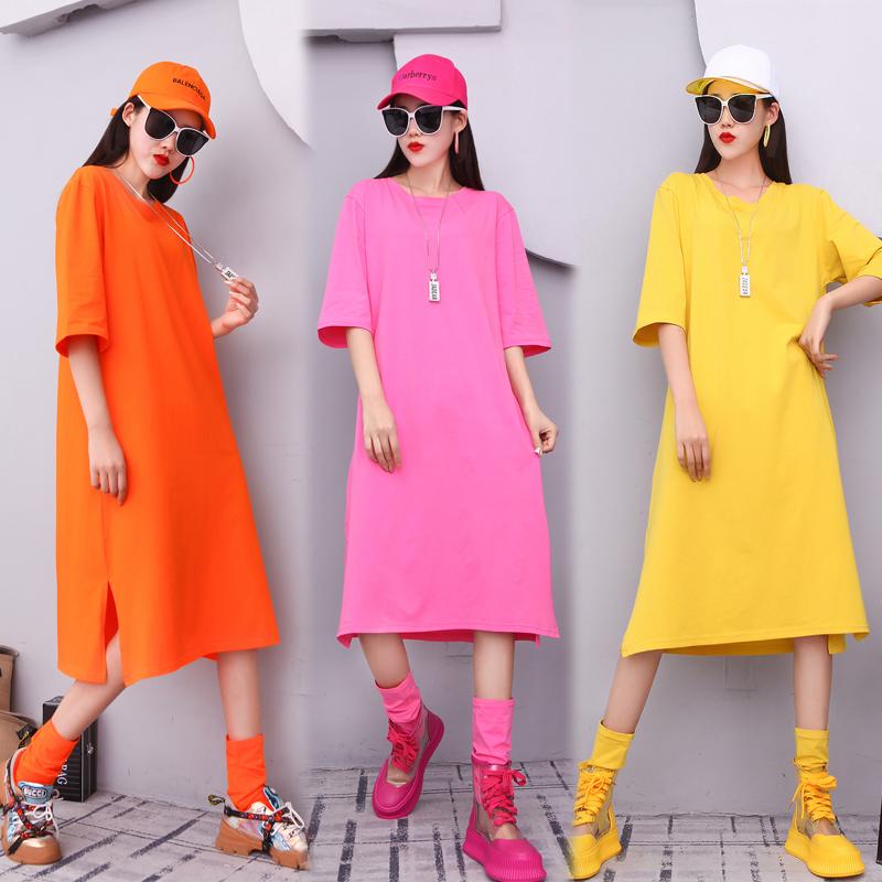 欧洲站夏季新款糖果色纯色T恤女中长款过膝宽松显瘦净版连衣裙潮
